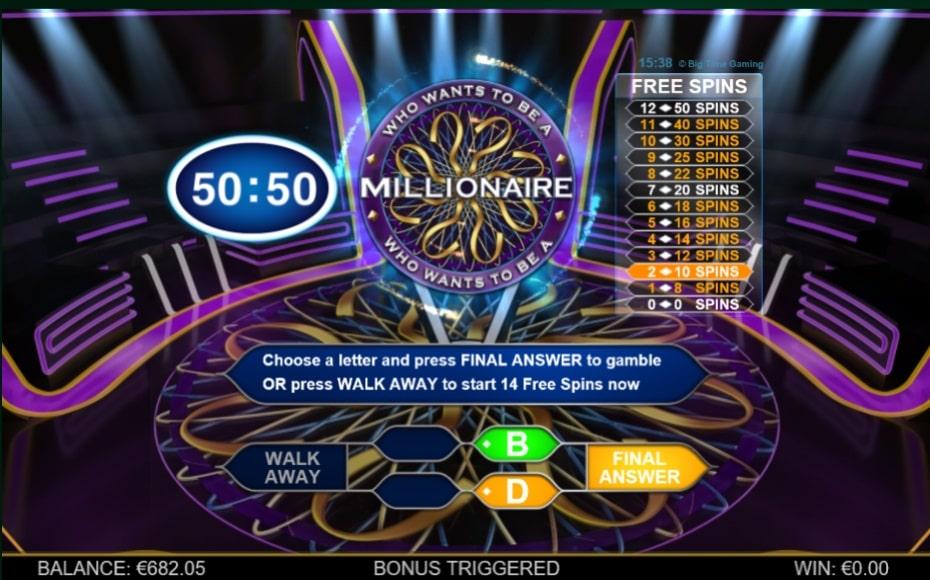50/50 LIFELINE ON MILLIONAIRE MEGAWAYS™ SLOT