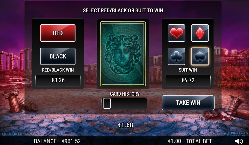 WINS CAN BE GAMBLED ON MEDUSA MEGAWAYS™ SLOT VIA THE CARD GAMBLE