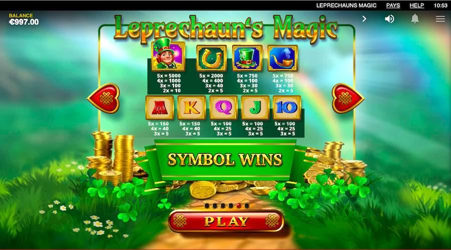 LEPRECHAUNS MAGIC PAYTABLE