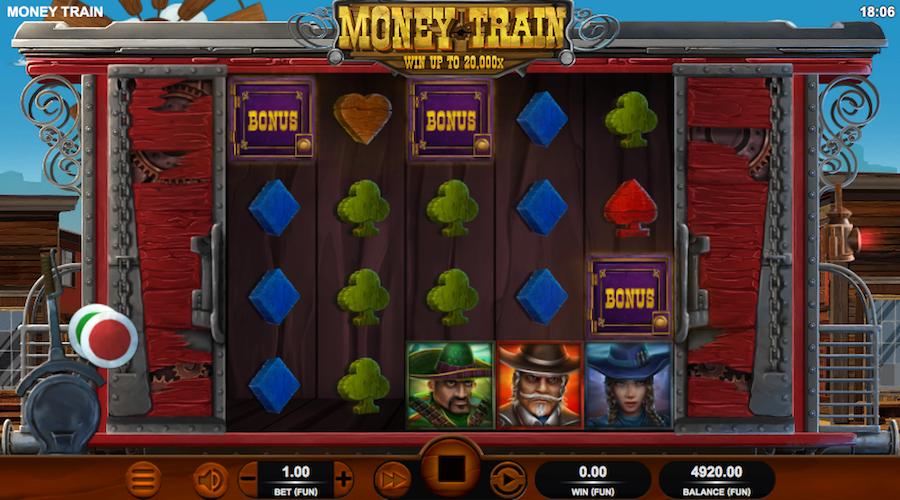 3 BONUS SYMBOLS WILL TRIGGER THE MONEY CART BONUS ON MONEY TRAIN