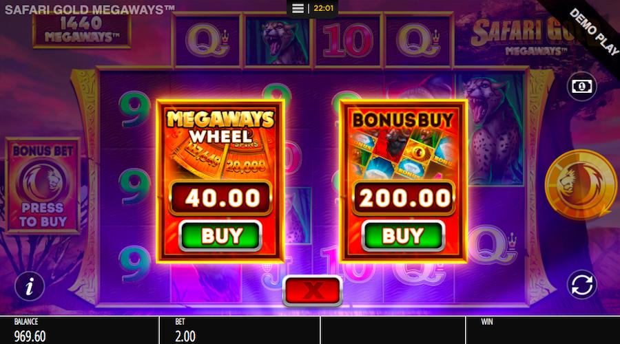 BUYING THE BONUS ON SAFARI GOLD MEGAWAYS™ WILL COST YOU 100X YOUR STAKE