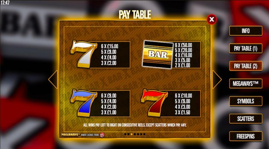 Bar x free slots