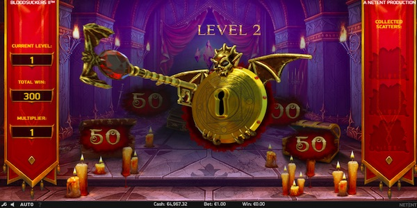 UNLOCK NEW LEVELS WITH HIGHER REWARDS IN THE HIDDEN TREASURE BONUS GAME ON BLOOD SUCKERS 2