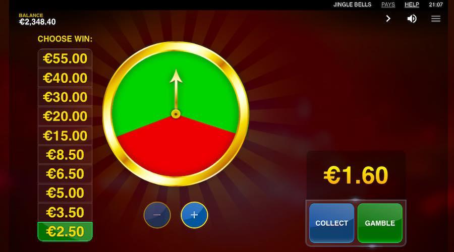 CHOOSE TO GAMBLE YOUR WINS VIA THE GAMBLE WHEEL ON JINGLE BELLS SLOT