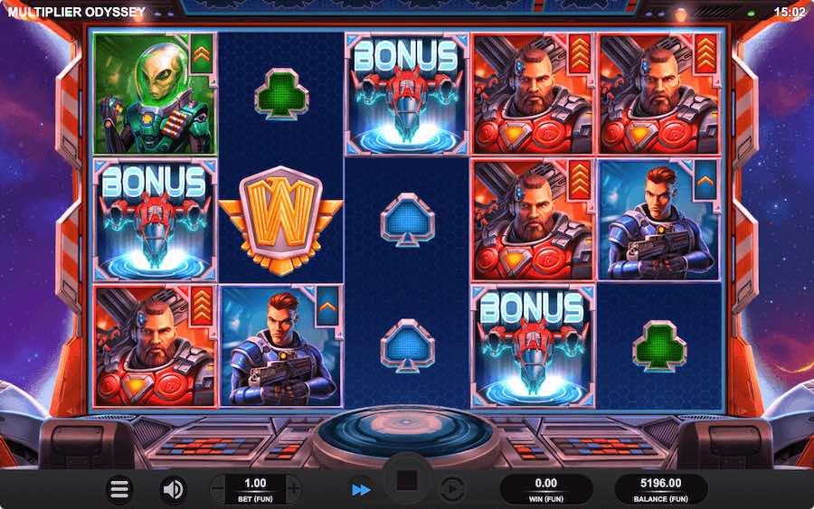 3 or more scatter symbols landing will trigger the bonus feature on Multiplier Odyssey slot